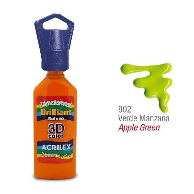 PINTURA ACRILEX DIMENSIONAL BRILLO 802 VERDE MANZANA