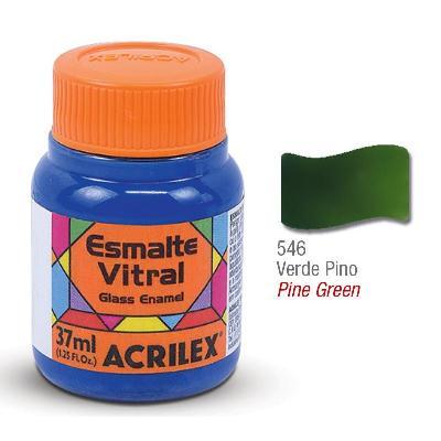 PINTURA ACRILEX VITRAL ESMALTE 546 VERDE PINO 37CC
