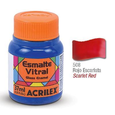 PINTURA ACRILEX VITRAL ESMALTE 608 ROJO ESCARLATA 37CC