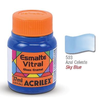 PINTURA ACRILEX VITRAL ESMALTE 603 AZUL CELESTE 37CC