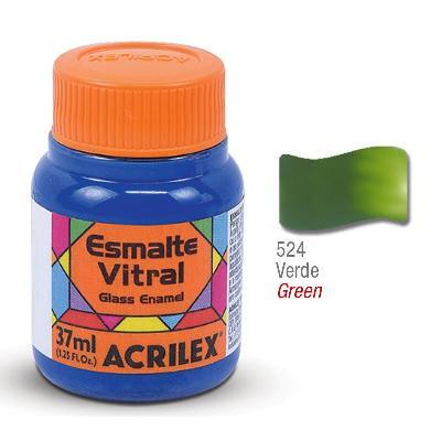 PINTURA ACRILEX VITRAL ESMALTE 624 VERDE 37CC