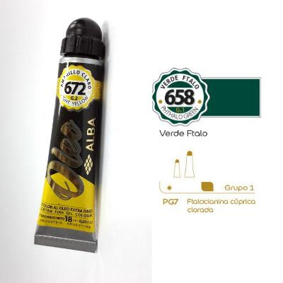 PINTURA OLEO ALBA G1-B 18ML 658 VERDE FTALO