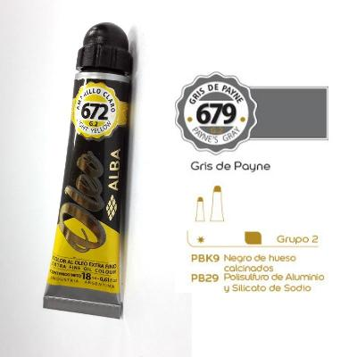 PINTURA OLEO ALBA G2-C 18ML 679 GRIS DE PAYNE