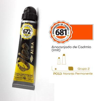 PINTURA OLEO ALBA G2-C 18ML 681 ANARANJADO DE CADMIO