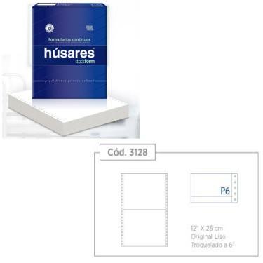 """PAPEL FORMULARIO CONTINUO PLECA 6"""" HUSARES 12""""x25cm"""