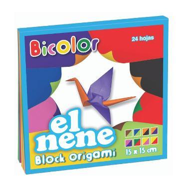BLOCK EL NENE 15x15 cm ORIGAMI 24 HOJAS BICOLOR