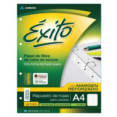 REPUESTO EXITO A4 48 HOJAS CUADRICULADO CON MARGEN REFORZADO