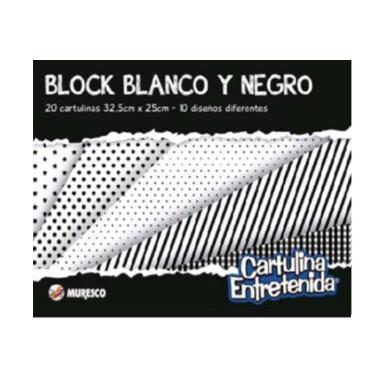 CARTULINA MURESCO ENTRETENIDA BLANCO Y NEGRO BLOCK 20 HOJAS