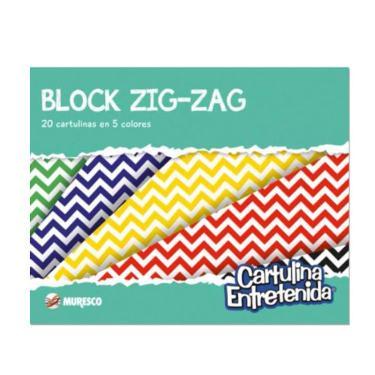 CARTULINA MURESCO ENTRETENIDA ZIG-ZAG BLOCK 20 HOJAS