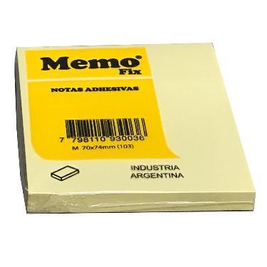 NOTAS ADHESIVAS MEMO FIX M 74X74 AMARILLO x 100 HOJAS