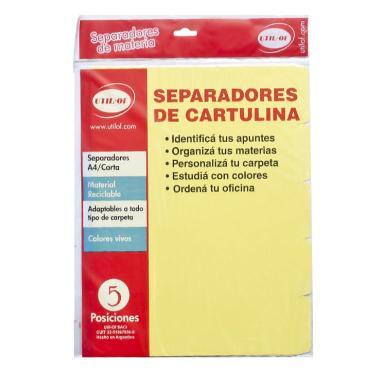 INDICE SEPARADOR UTIL OF A4 CARTULINA COLOR x 20 180GRS.
