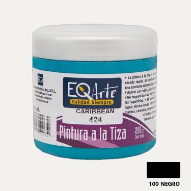 PINTURA A LA TIZA EQARTE 100 NEGRO 200 CC ART.3800-100-200