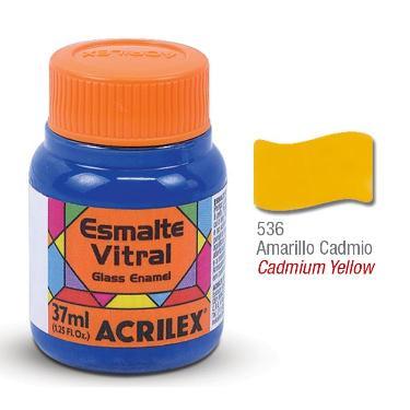 PINTURA ACRILEX VITRAL ESMALTE 636 AMARILLO CADMIO 37CC