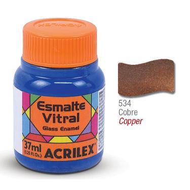 PINTURA ACRILEX VITRAL ESMALTE 634 COBRE 37CC