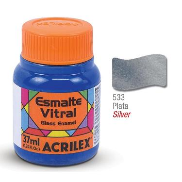 PINTURA ACRILEX VITRAL ESMALTE 633 PLATA 37CC