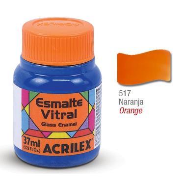 PINTURA ACRILEX VITRAL ESMALTE 617 NARANJA 37CC