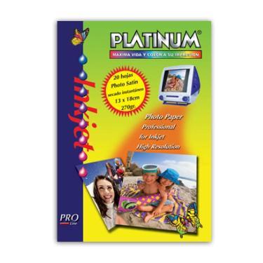 PAPEL FOTOGRAFICO PLATINUM SATIN 270 GR. 13x18 CM. X 20