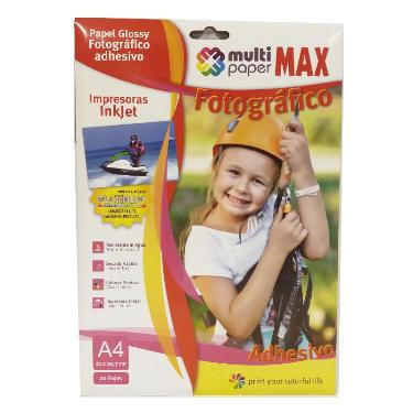 PAPEL FOTOGRAFICO PAPER MAX GLOSSY AUTOADHESIVO A4 X 20