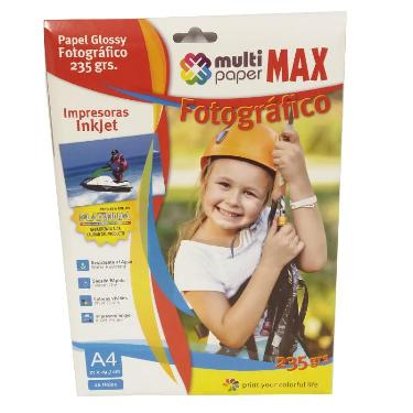 PAPEL FOTOGRAFICO PAPER MAX GLOSSY 235 GR. A4 BLISTER X 20