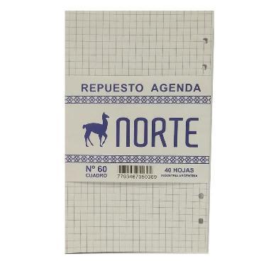 REPUESTO DE LIBRETA CON ANILLOS NORTE Nº60 CUADROS