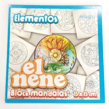 BLOCK EL NENE 15x15 cm MANDALAS ELEMENTOS 24 HOJAS