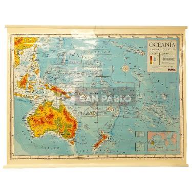 MAPA LAMINADO POLITICO MURAL OCEANIA