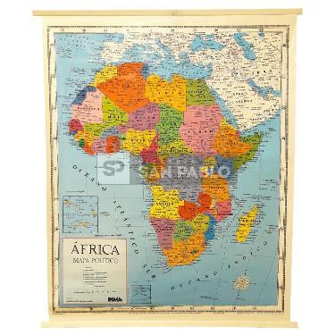 MAPA LAMINADO POLITICO MURAL AFRICA